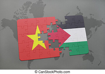 puzzle with the national flag of vietnam and palestine on a...