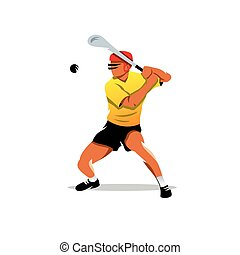 Vector hurling player Cartoon Illustration - Man in the...