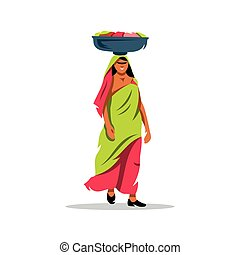 Vector indian woman Cartoon Illustration - Lady carrying a...