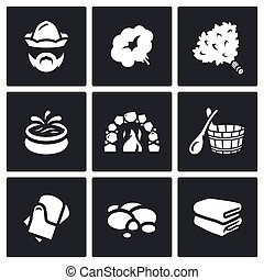 Vector Set of Bath and Sauna Accessories Icons - Health...