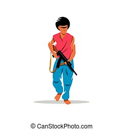 Man with gun. Vector Cartoon Illustration. - Street crime...