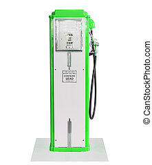 Vintage green fuel pump on white background - Old green...