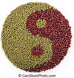 Dried Bean Yin Yang - Mung and azuki beans in shape of yin...
