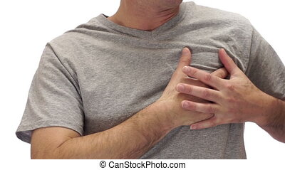 Male Chest Pain Isolated on White - Male figure isolated on...