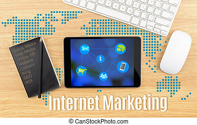 Internet Marketing word with tablet,keyboard and black...