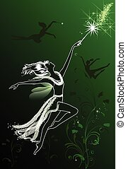 Dancing fairies - Flying fairies silhouettes on a green and...