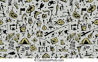 Fishing seamless pattern, sketch for your design. Vector...