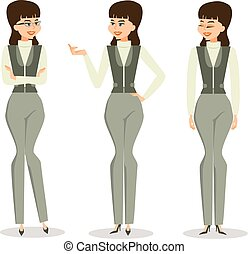 Set successful business woman in different poses