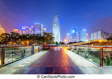 China Hangzhou CBD night - China Hangzhou skyscrapers, night...