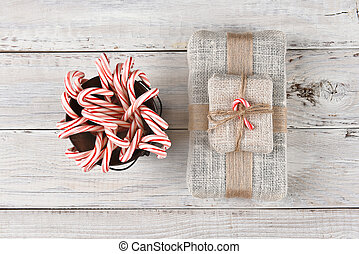 Bucket of Candy Canes and Present