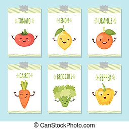 Healty food cartoon representing banners set - banners set...