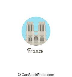 France notre dame landmark round icon - France landmark...