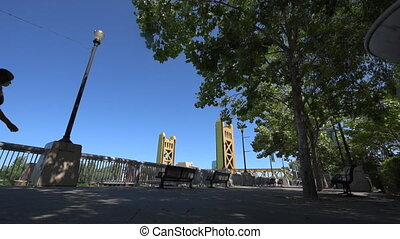 Sacramento California Promenade River Walk - Woman Walking...