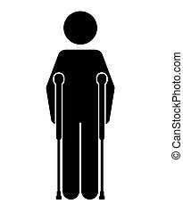crutches person isolated icon design, vector illustration...
