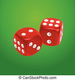 Red dice on green background. EPS10 vector.