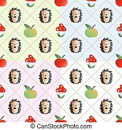 Pattern fly agaric, hedgehog - Four baby seamless pattern...