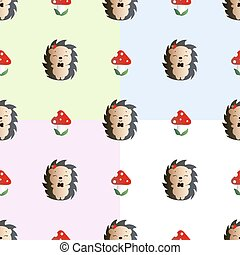 Pattern fly agaric and hedgehog - Four baby seamless pattern...