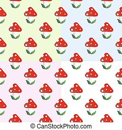 Pattern with fly agaric - Four baby seamless pattern with...