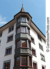 Bay Windows - Renovated Facade of the Old Swiss House with...