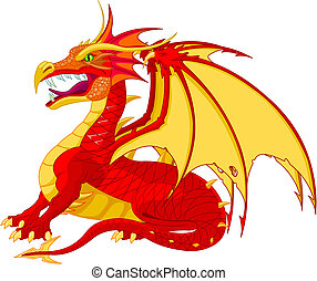 Dragon - A detailed red flying dragon vector illustration