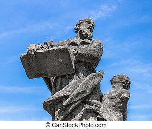 estátua, de, Um, professor
