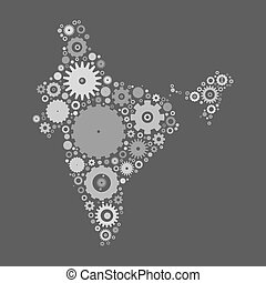 India map silhouette mosaic of cogs and gears