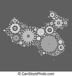 China map silhouette mosaic of cogs and gears