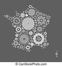 France map silhouette mosaic of cogs and gears
