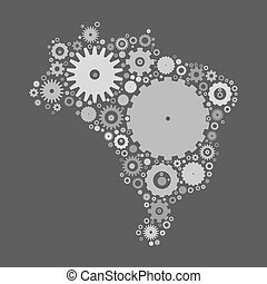 Brasil map silhouette mosaic of cogs and gears