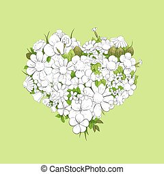 Floral white heart