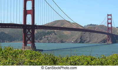 Golden Gate Bridge San Francisco California Slow Pan Right