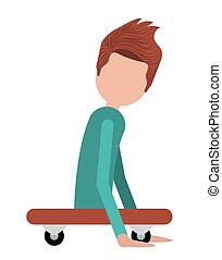 disabled person on skateboard isolated icon design, vector...