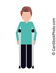crutches person invalidates isolated icon design, vector...