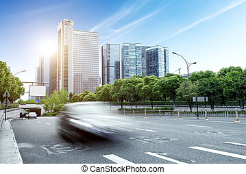 China Hangzhou buildings and roads - China Hangzhou modern...
