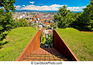 Funicular of Ljubljana and city aerial view, capital of...