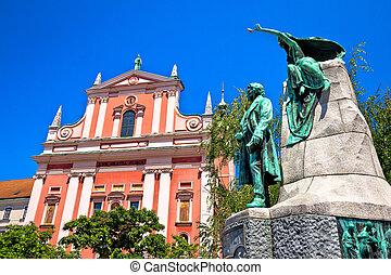 Presern square of Ljubljana landmarks view, capital of...