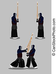 Kendo Sparring Vector Illustration - Vector Illustration of...