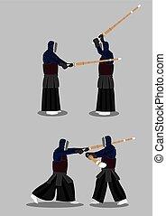 Kendo Martial Arts Vector Illustration - Kendo practitioners...