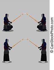 Kendo Martial Arts Preparation Pose - Japanese martial arts,...
