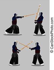 Vector Characters Kendo Martial Arts Combat Sports - Vector...