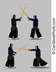 Japanese Kendo Martial Arts Attack and Defense - Two set of...