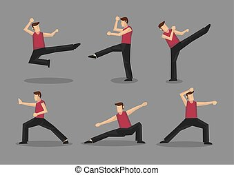 Chinese Kungfu Vector Character Illustration - Set of six...