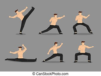 Martial Arts Vector Character Illustration - Set of six...