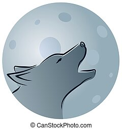 Wolf with moon.