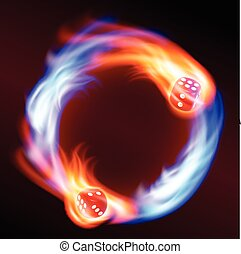 Circling two red dice in fire.