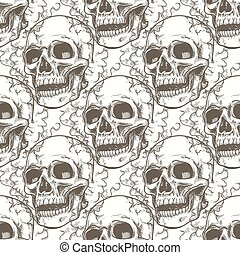 Seamless pattern with skull and smoke