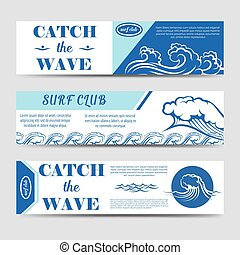 Surf club banners with waves