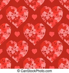 Valentine Hearts Background Low Poly