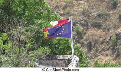 European Union Flag And Flag Of Spain