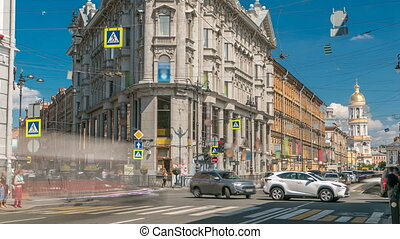 Crossroads five corners timelapse. ST. Petersburg, Russia -...